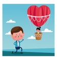 boy propossal girl flying heart airballoon vector image vector image