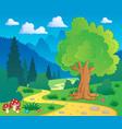 cartoon forest landscape 8 vector image