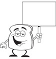 Cartoon piece of toast holding a sign vector image vector image