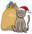 cat with christmas presents cartoon vector image vector image
