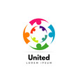 colorful unity people logo template sign symbol vector image