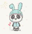 cute bapanda with rabbit hat vector image