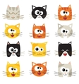 cute cartoon cats isolated on white Icons vector image vector image
