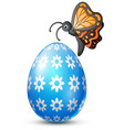 decorated easter egg with butterfly vector image vector image
