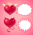 devil ans angel hearts comics vector image vector image