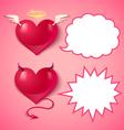 devil ans angel hearts comics vector image