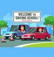 driving school background with young happy vector image