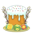 Easter traditional cake and eggs vector image