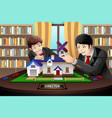 father and son building a brick house vector image vector image