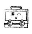 figure kawaii cute funny suitcase design vector image vector image