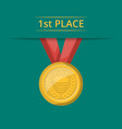 first place golden medal with red ribbon vector image