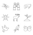 forest beast icons set outline style vector image vector image
