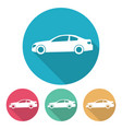 four flat style cars in multi colored circles vector image