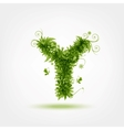 Green eco letter Y for your design vector image