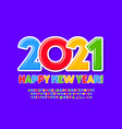 greeting card happy new year 2021 vector image vector image