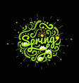 hello spring postcard isolated on black background vector image