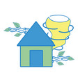 house with twister and wind leaves natural weather vector image vector image