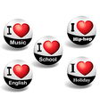 I love English badges vector image