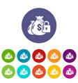 insurance money icons set color vector image vector image
