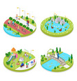 isometric city park with walking people vector image vector image