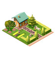 landscaping isometric composition vector image