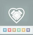 love handshake minimal icon vector image