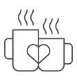 love mugs thin line icon cups with heart vector image vector image