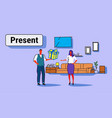 man giving surprise box present to woman holiday vector image vector image