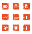 manual icons set grunge style vector image