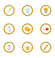 medical care icons set cartoon style vector image vector image