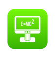 monitor with einstein formula icon digital green vector image vector image