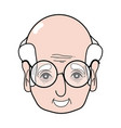 old man face with glasses and hairstyle vector image vector image