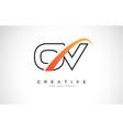 ov o v swoosh letter logo design with modern vector image vector image