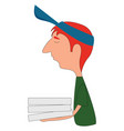 pizza delivery man on white background vector image
