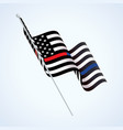 police and firefighter flag waving vector image vector image