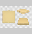 realistic brown pizza boxes icon set vector image vector image