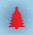 red christmas tree on the blue background vector image vector image
