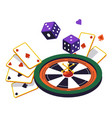 roulette wheel and play cards dices online vector image vector image