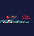santa flying in sledge with reindeers in night sky vector image vector image
