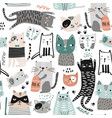 seamless childish modern pattern with cute hand vector image vector image