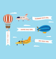 set airplane airship and balloon with banners vector image vector image