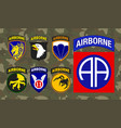 set of airborne unit patch isolated on camouflage vector image