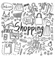 set of hand drawn doodle shopping and fashion vector image vector image