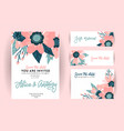 set wedding invitation template greeting card vector image vector image
