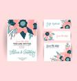 set wedding invitation template greeting card vector image vector image