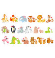 small animals and their moms set vector image vector image