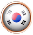 south korea flag design on round badge vector image vector image