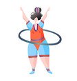 sport workout fitness woman turns hoop characters vector image