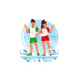 two happy woman and man coaches and swimmers vector image vector image