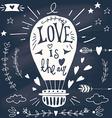 Valentines day design elements on blackboard vector image